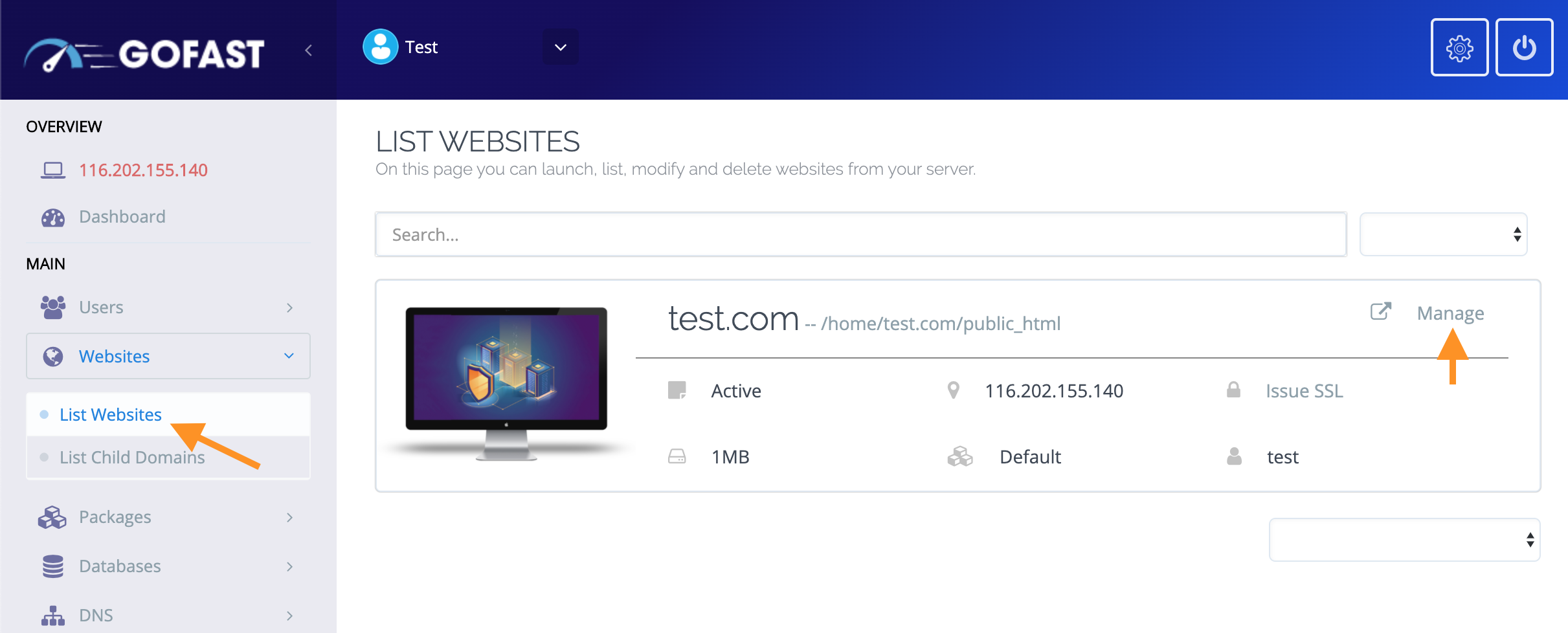 List Websites and Manage